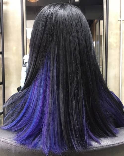 BLUE AND PURPLE UNDERLYING HAIR COLOR