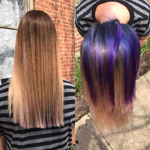 PURPLE AND BLUE UNDERNEATH HAIR COLOR
