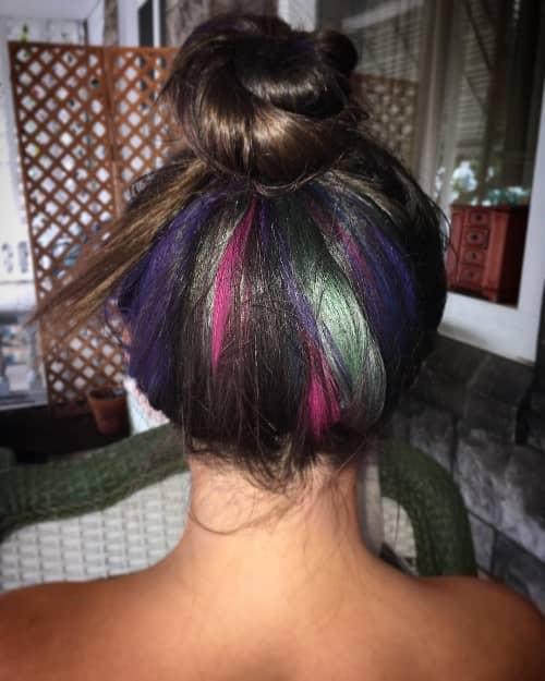 RAINBOW UNDERLIGHT COLOR ON BLACK HAIR