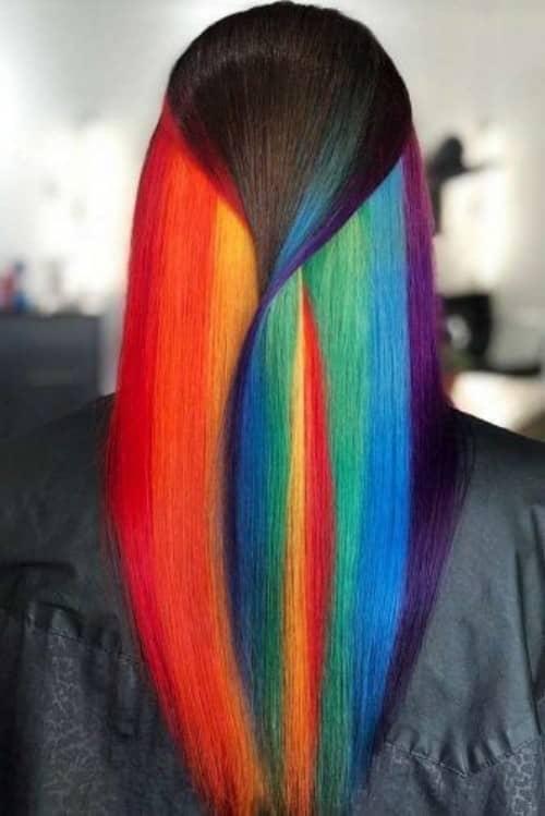 Hidden Rainbow Hair Color Ideas - Our Motivations  |Rainbow Hair Underneath Light
