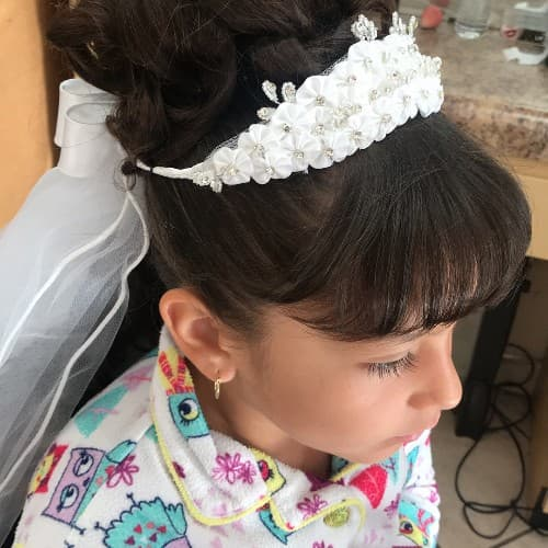 High Prom Updo Bun With Bangs