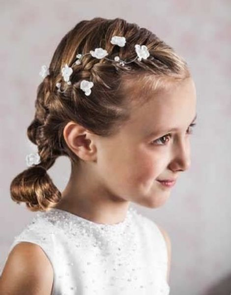 One Sided Braid Style For First Holy Communion