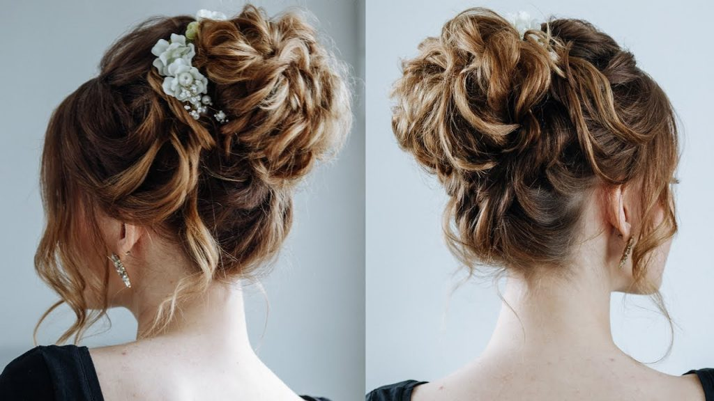 messy buns for curly hair for girl