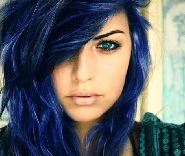 Blue Black Hair Dye With Silver Accents