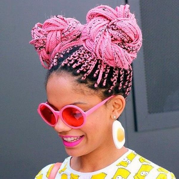 Image result for Box Braids space buns