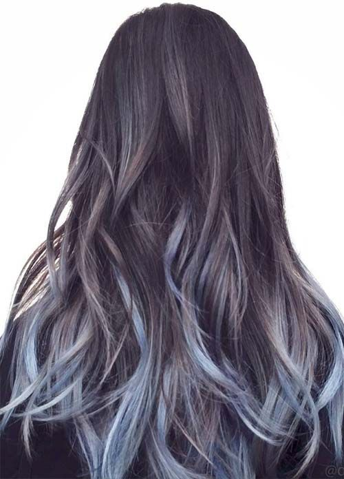 Highlights Brown Blue Light Hair