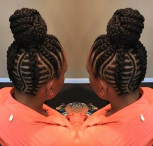 fishbone braids high bun