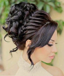 updo curls with braid edge