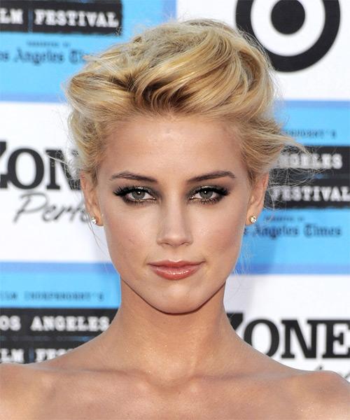 Amber Heard Medium Straight Formal Updo Hairstyle