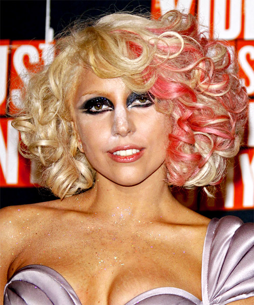 Lady GaGa Medium Curly Alternative Hairstyle