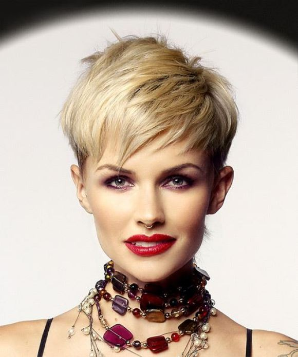 Pixie Hairstyle with Razor Cut Bangs