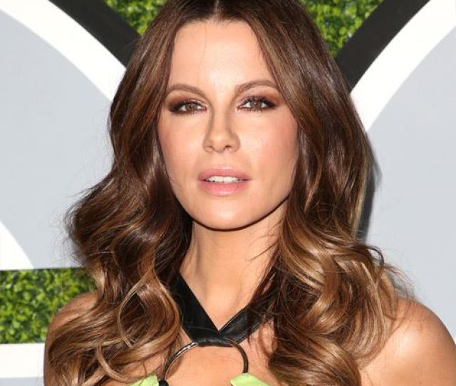 Kate Beckinsale Long Wavy Casual Hairstyle Brunette Hair Color