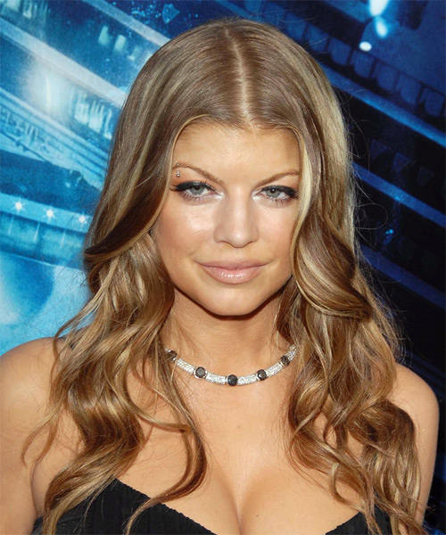 Fergie Long Wavy Casual Hairstyle Caramel Hair Color