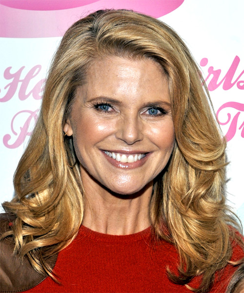 Christie Brinkley Casual Long Wavy Hairstyle Dark Golden