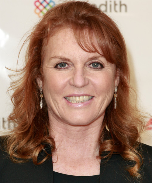 Sarah Ferguson Long Curly Casual Half Up Hairstyle