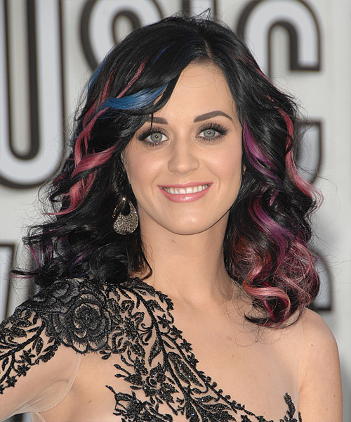 Katy Perry Long Wavy Formal Hairstyle Bright Hair Color