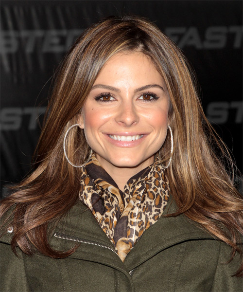 Maria Menounos Long Straight Casual Hairstyle Caramel