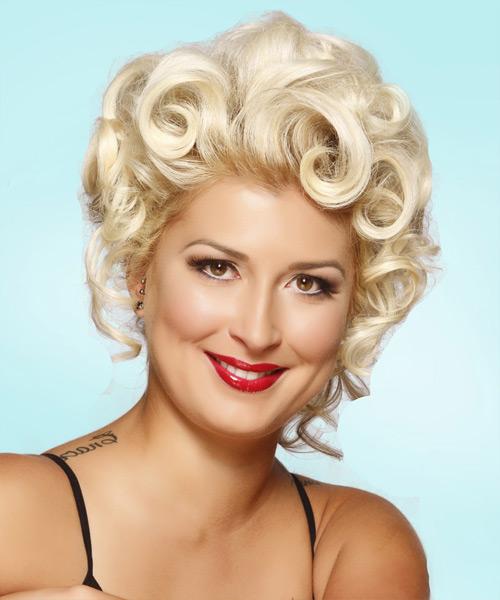 Medium Curly Formal Updo Hairstyle Light Platinum Blonde