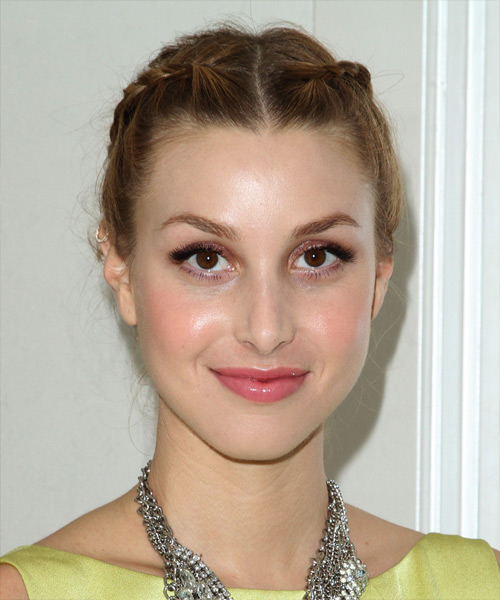 Whitney Port Long Curly Formal Braided Updo Hairstyle