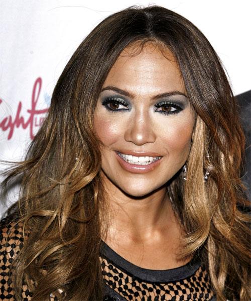 Jennifer Lopez Long Wavy Casual Hairstyle Dark Brunette