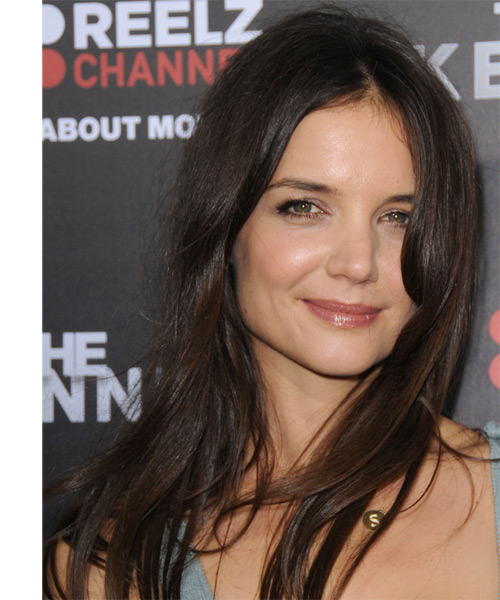 Katie Holmes Long Straight Casual Hairstyle Dark
