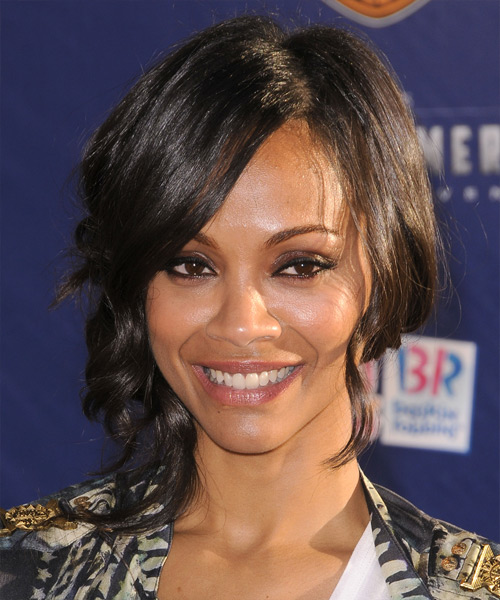 Zoe Saldana Medium Curly Casual Half Up Hairstyle With