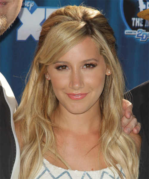 Ashley Tisdale Long Straight Casual Half Up Hairstyle With