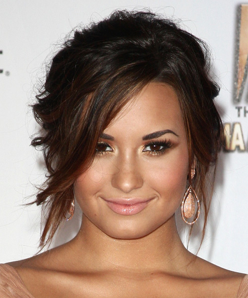 Demi Lovato Long Curly Casual Updo Hairstyle With Side