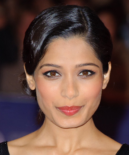 Freida Pinto Long Straight Formal Updo Hairstyle Black