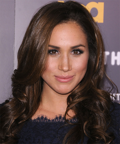 Meghan Markle Long Wavy Formal Hairstyle - Chocolate ...