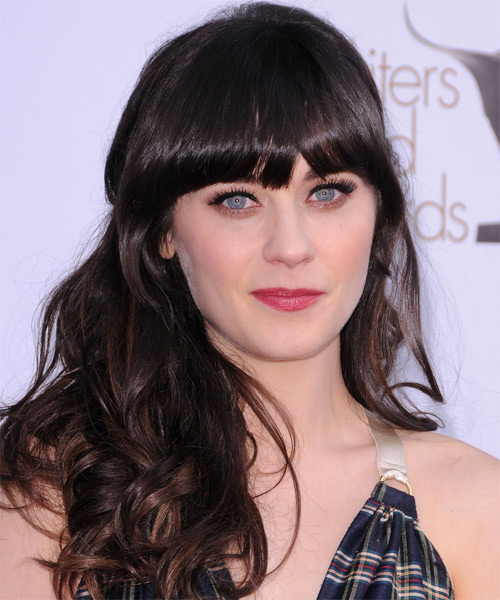 Zooey Deschanel Long Wavy Casual Hairstyle With Blunt Cut