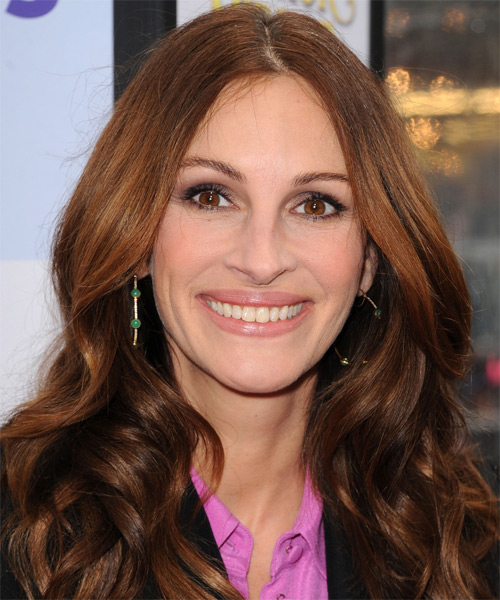 Julia Roberts Long Wavy Formal Hairstyle Auburn Brunette