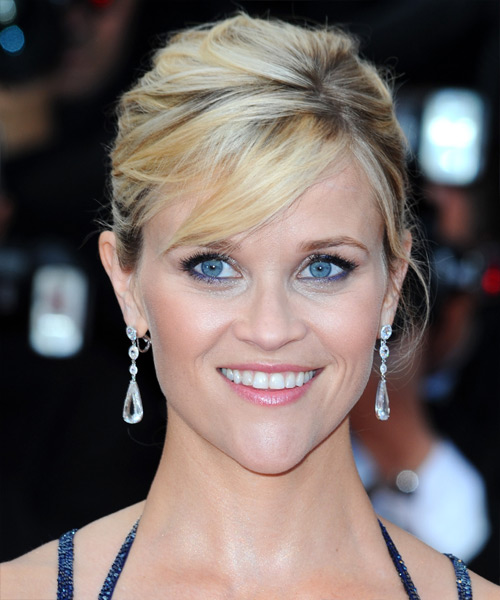 Reese Witherspoon Long Straight Formal Updo Hairstyle With