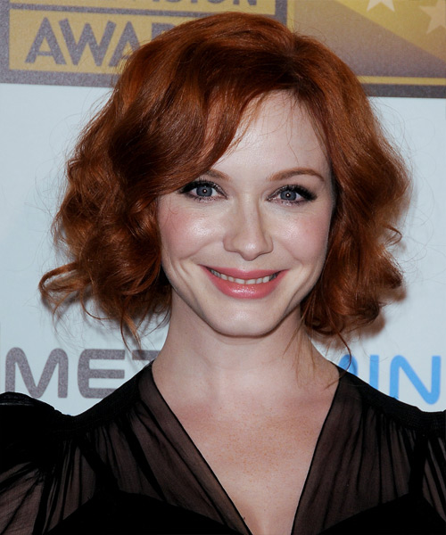 Christina Hendricks Long Curly Formal Updo Hairstyle With