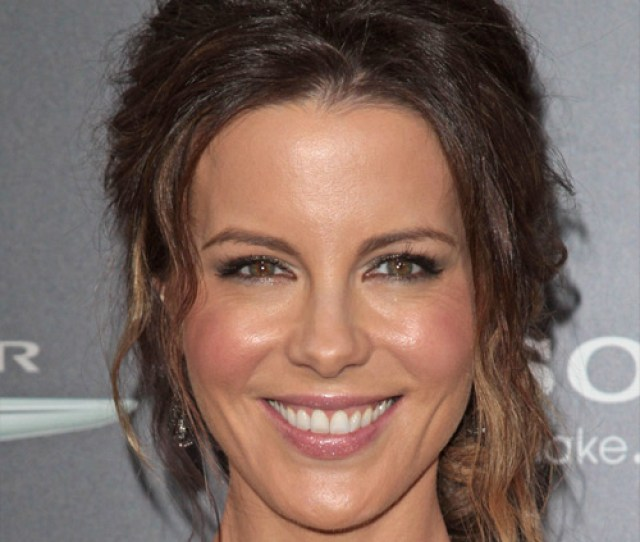 Kate Beckinsale Long Curly Casual Updo Hairstyle Brunette Hair Color With Blonde Highlights