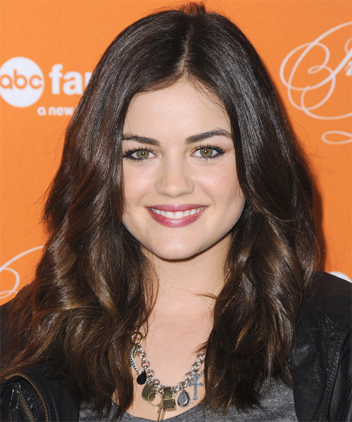 Lucy Hale Long Wavy Casual Hairstyle Brunette Hair Color
