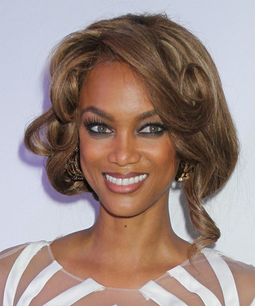 Tyra Banks Long Curly Formal Updo Hairstyle With Side