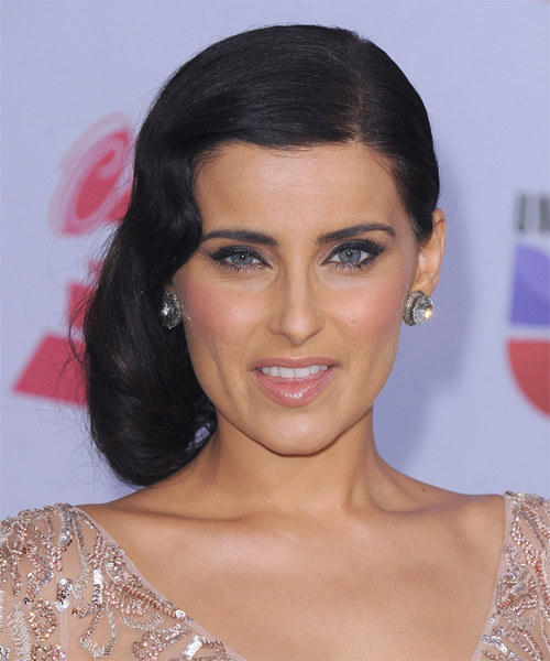 Nelly Furtado Long Curly Formal Half Up Hairstyle Black