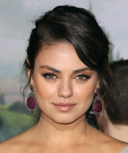 Mila Kunis Long Curly Casual Updo Hairstyle Black Hair Color