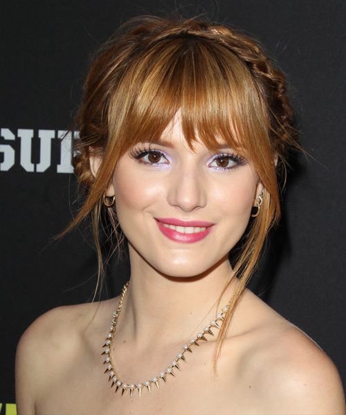 Bella Thorne Long Straight Casual Updo Hairstyle With