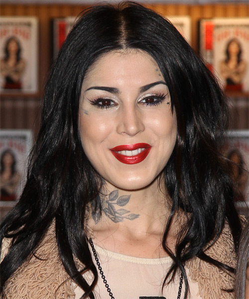 Kat Von D Long Straight Casual Hairstyle Black Hair Color