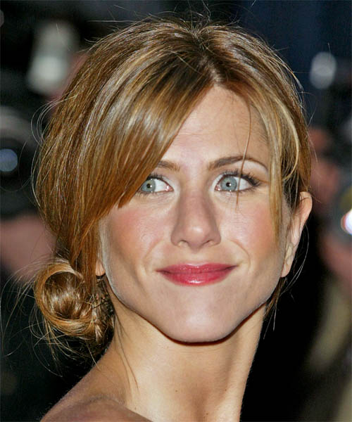 Jennifer Aniston Long Straight Casual Updo Hairstyle