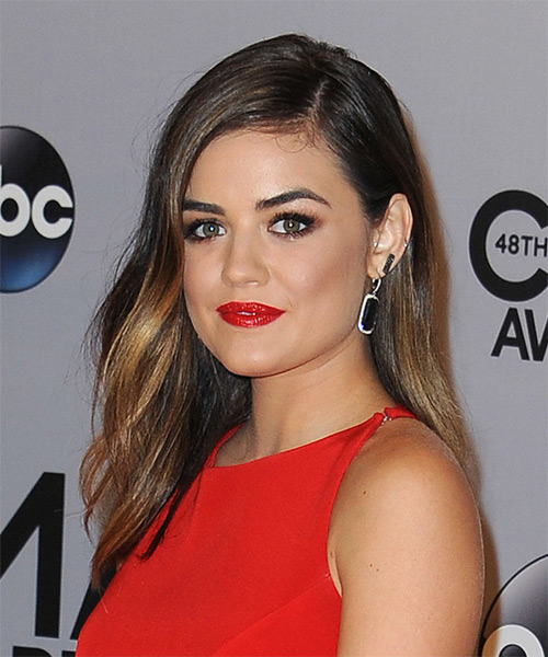 Lucy Hale Long Straight Casual Hairstyle Dark Brunette