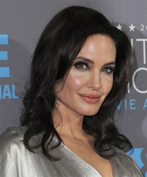 Angelina Jolie Formal Long Wavy Hairstyle Dark Mocha