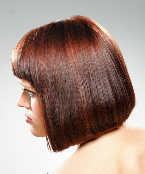 Medium Straight Casual Bob Hairstyle With Blunt Cut Bangs