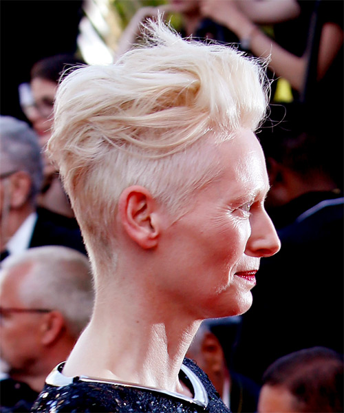 Tilda Swinton Casual Short Wavy Mohawk Hairstyle Light