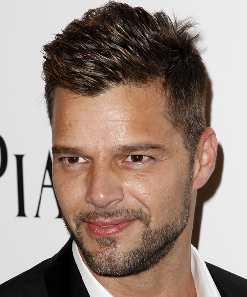 Ricky Martin Casual Short Straight Hairstyle Dark