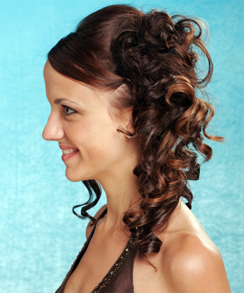 Long Curly Formal Updo Hairstyle Mocha Hair Color