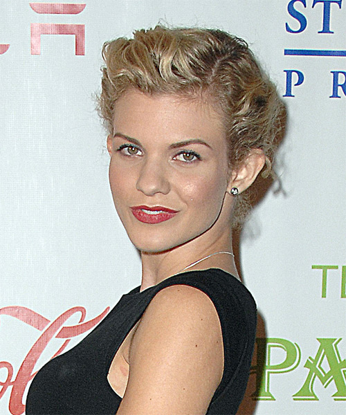 Angel McCord Long Curly Casual Updo Hairstyle Blonde