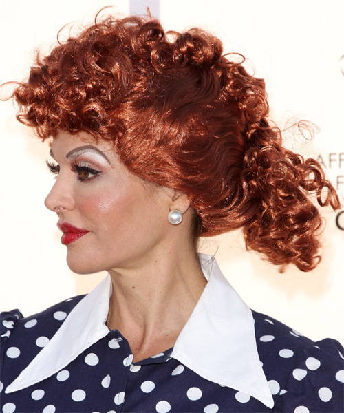 Lisa Rinna Long Curly Formal Updo Hairstyle Light Red